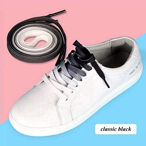 TMYQM 1Pair /カラフルな靴ひもフラット靴ひもファッションキャンバスレジャーキャンディパーティーファブリック靴ひも女性と男性の靴レース (Color : Black, Size : 120CM)