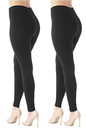 - 41GasZQNw0L - Premium Women's Fleece Lined Leggings – High Waist – Regular Plus Size – 20+ Colors