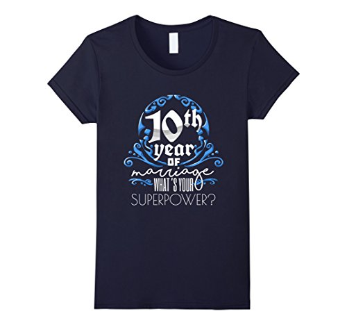 Womens Anniversary Gift 10th, 10 Years Of Marriage, Couples T-Shirt Large Navy