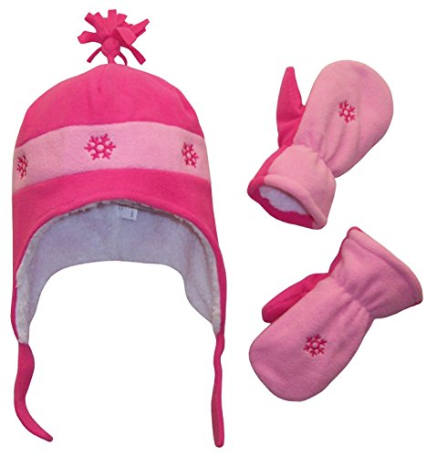 N'Ice Caps Girls Snow Embroidered Sherpa Lined Micro Fleece Hat and Mitten Set (4-7 Years, Fuchsia/Pink)