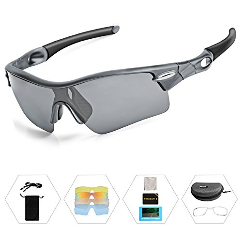 WONGKUO Polarized Outdoor Sports Glasses Men Women Cycling Sunglasses With 5 Interchangeable Lenses 100%UV Protection Fits for Fishing Running Golf Baseball Cycling Driving And All Outdoor - Sunglasses Lenses For Different Color