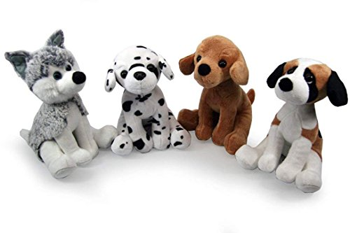 Plushland Realistic Stuffed Animal toys Puppy Dogs 8 Inches, Holiday Plush Figures for Kids, Babies to Play with (Dog Assortment (4-Pack)) (Assortment Puppy)