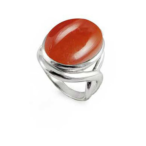 Sterling Silver Ring with Oval Carnelian Stone - Sizes 5 -12
