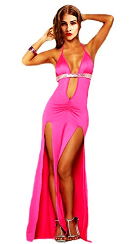 Honeystore Women's Halter Sequin Slit Dresses Long Lingerie Club Nightgowns Hot Pink]()