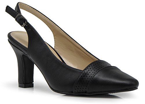 (Enzo Romeo KDA01 Women's Wide Width Sling Back Low Heeled Pointy Pumps Sandals Shoes (8.5 Wide US, Black))