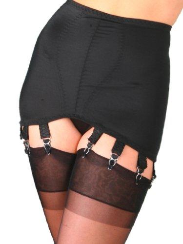 Premier-Lingerie-10-Strap-Vintage-Style-Black-Shapewear-Girdle-NDG10