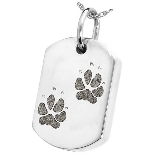 Dog Tag Cremation Necklace With Actual Pawprint or Noseprint (2 Pawprints, Sterling Silver)
