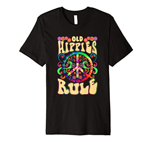 Old Hippies Rule Funny Rainbow Peace Sign Hippie Shirt
