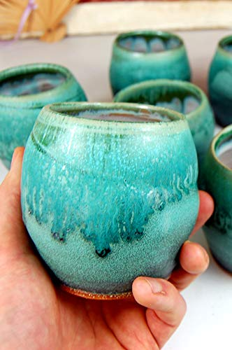 Stemless Wine Glass or Drinking Cup in Turquoise from Page Pottery
