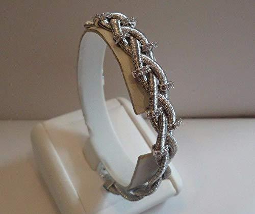 925 Sterling Silver Triple Strand Design Bracelet W 1 CT Diamonds WG-916
