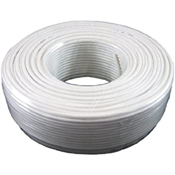 Phone Cable 300ft Rounded White Roll (100 M - 328 ft) 4X1/0.4 Reel Telephone Long Cord