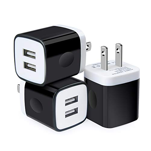 USB Wall Charger Adapter, GiGreen 3 Pack Dual Port Quick Charging Plug Cube 2.1A Power Block Compatible iPhone X/8/7/7 Plus/6S/6 Plus, Samsung Galaxy S9 S8 S7 S6 Edge, HTC, Nexus, Moto, Google Pixel