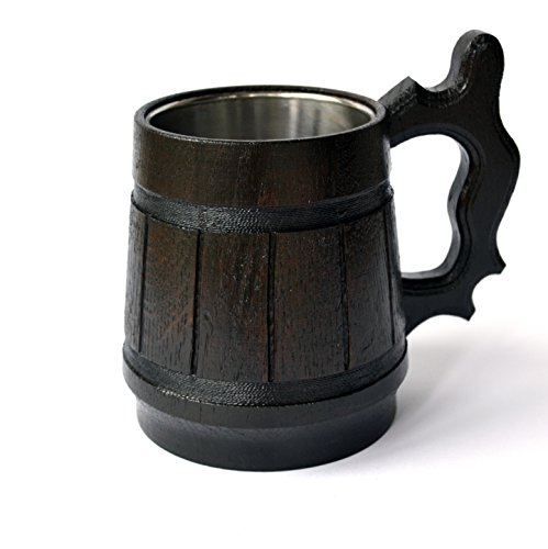 Old Style Beer Mug (Handmade Beer Mug Oak Wood Stainless Steel Cup Carved Natural Eco-Friendly Old-Fashioned Brown)