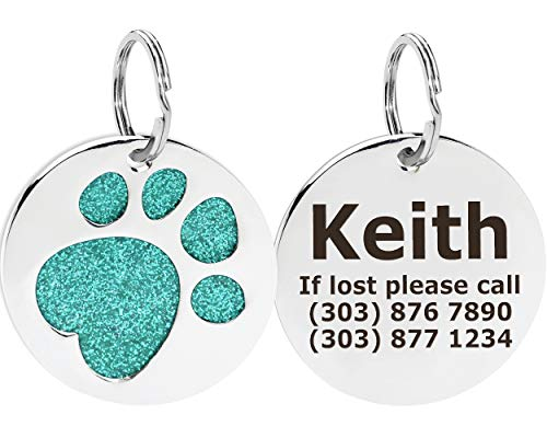 (Taglory Custom Engraved Pet ID Tags - Personalized Dog & Cat Tags - Cute Glitter Paw Shapes with Name Phone Number Address for Medium Large Breeds - Turquoise)