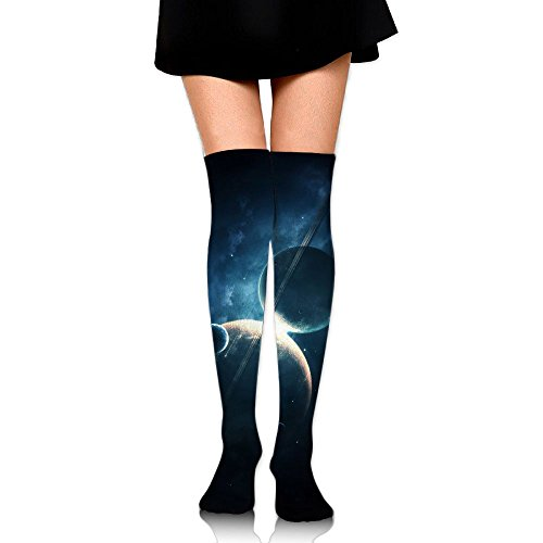 Universe Space Galaxy Planets Big Girls/Women Funny 3D Pattern Over Knee High Socks Compression Socks