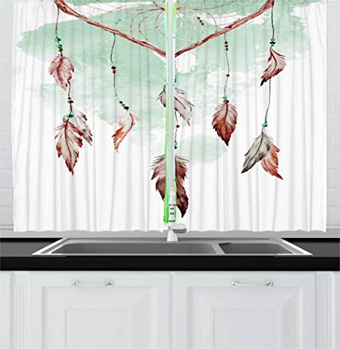Ambesonne Feather Kitchen Curtains, Watercolor Vibrant Dream Catcher with Ornamental Elements Traditional Design, Window Drapes 2 Panel Set for Kitchen Cafe, 55 W X 39 L Inches, Mint Green Brown