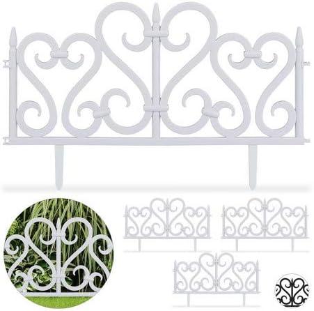 Relaxdays Set de 4 separadores de jardín, Valla decorativa, Con ornamentos, Altura de 28 cm, Blanco: Amazon.es: Jardín