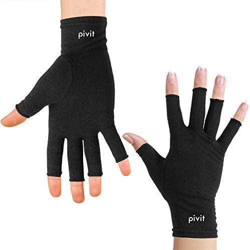 Pivit Black Arthritis Gloves | Fingerless Compression Glove for Rheumatoid & Osteoarthritis | Cold Hand Hot Gloves for Arthritic Joint Pain Symptom Relief | Open Finger for Computer Typing (Small)