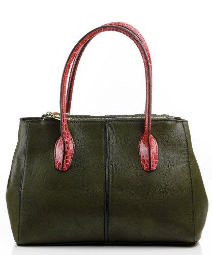 Noble Mount Croc Accent Colette Satchel/Handbag – Olive/Pink, Bags Central