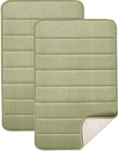 Magnificent 20 X 32 inch Memory Foam Bath Mat, Large, Soft, Non-slip, High Absorbency (Sage Green) ()