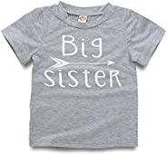 WINZIK Big Sister Shirt Toddler Baby Girl Outfit Promoted to Big Sister Announcement Tee Tops Clothes Costume
