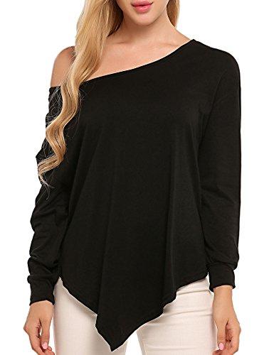 UNibelle Women Loose Blouse Off Shoulder Long Sleeve Irregular Hem Top Shirt,Black,Large