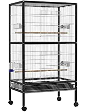 PawHut 30x20.5x54-Inch Bird Cage Parrot Macaw Finch Cockatoo Flight Cage with Wheels Black/White