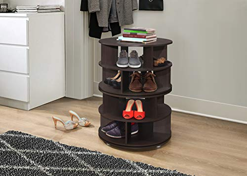 Kings Brand Furniture - 4-Tier Revolving Lazy Susan Shoe Rack Storage Organizer (Chocolate) (Shoe Rotating Cabinet)