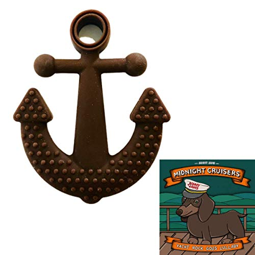 Gumeez Nautical Teething Toy - Multiple Teething Surfaces w/ Jammy Jams Lullaby Album Download 'Midnight Cruisers: Yacht Rock Goes Lullaby' (Anchor - Brown)