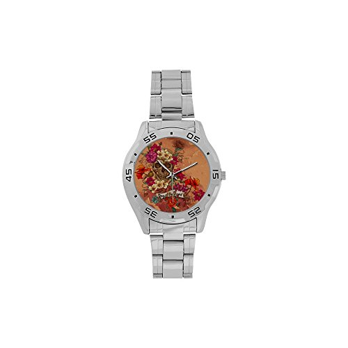 [Men's Sugar Skull Dia De Los Muertos Stainless Steel Analog Watch] (Catrina Sugar Skull Costume)