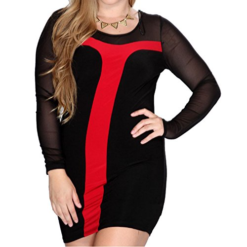 Womens Loose Plus Size Long Sleeve Bodycon Pencil Mini T Shirt Clubwear Dress (1X(16W)Asian 3XL, Red)
