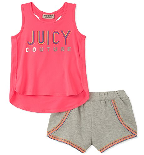 Juicy Couture Baby Girls 2 Pieces Shorts Set, Pink/Gray, 12M