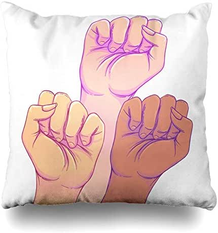 AlliuCoo Throw Pillow Covers Activist Power Fight Like Girl Hands Strong Fist Feminism Day Rights Feminist Hand Home Decor Zippered Cushion Case Square Size 16