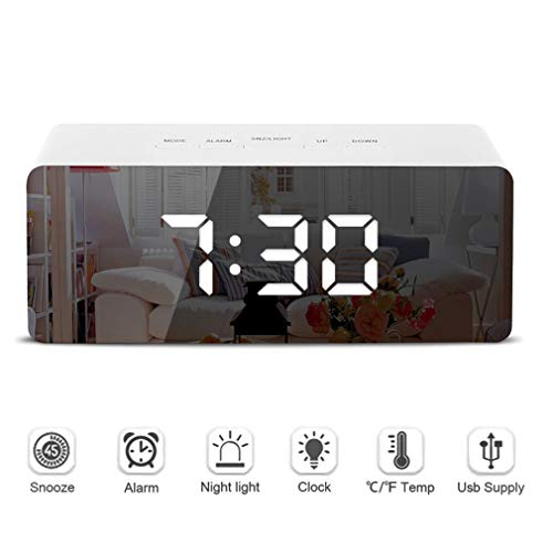 HWUKONG LED Mirror Alarm Clock Digital Snooze Table Clock Wake Up Light Electronic Large Time Temperature Display Home Decoration Clock for Outdoor Travel Bedroom Gift