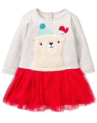 Gymboree Baby Girls Long Sleeve Winter Polar Bear Party Dress, Grey, 6-12 MO
