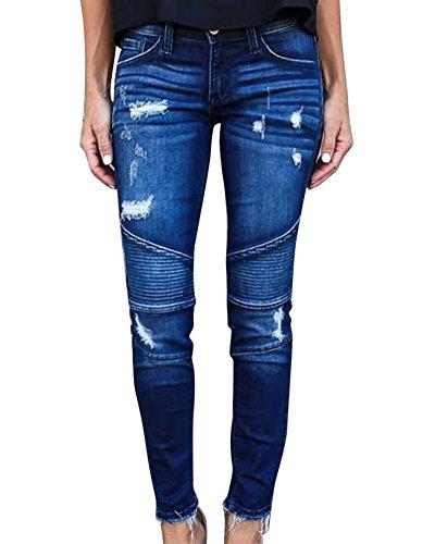 Stretch Femme Collant Fonc Jeans Longue Pantalon Crayon Bleu Dchirs Pantalons Slim XfAqwC