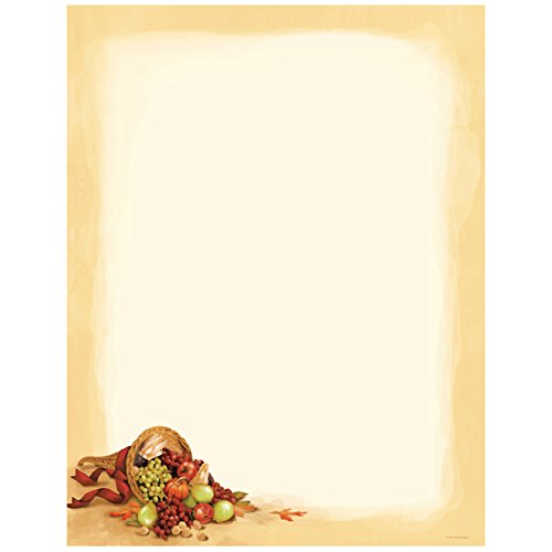 Cornucopia and Fruit Thanksgiving Computer Printer Paper (100 Sheets)
