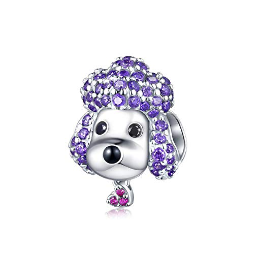 - FOREVER QUEEN Cute Poodle Bead Charms, 925 Sterling Silver Purple 5A Cubic Zirconia Animal Pet Dog Charm, Jewelry for Animal Lovers Women Girls with Elegant Gift Box
