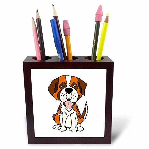 3dRose All Smiles Art Pets - Funny Cute Saint Bernard Puppy Dog Cartoon - 5 inch tile pen holder (ph_260864_1) -