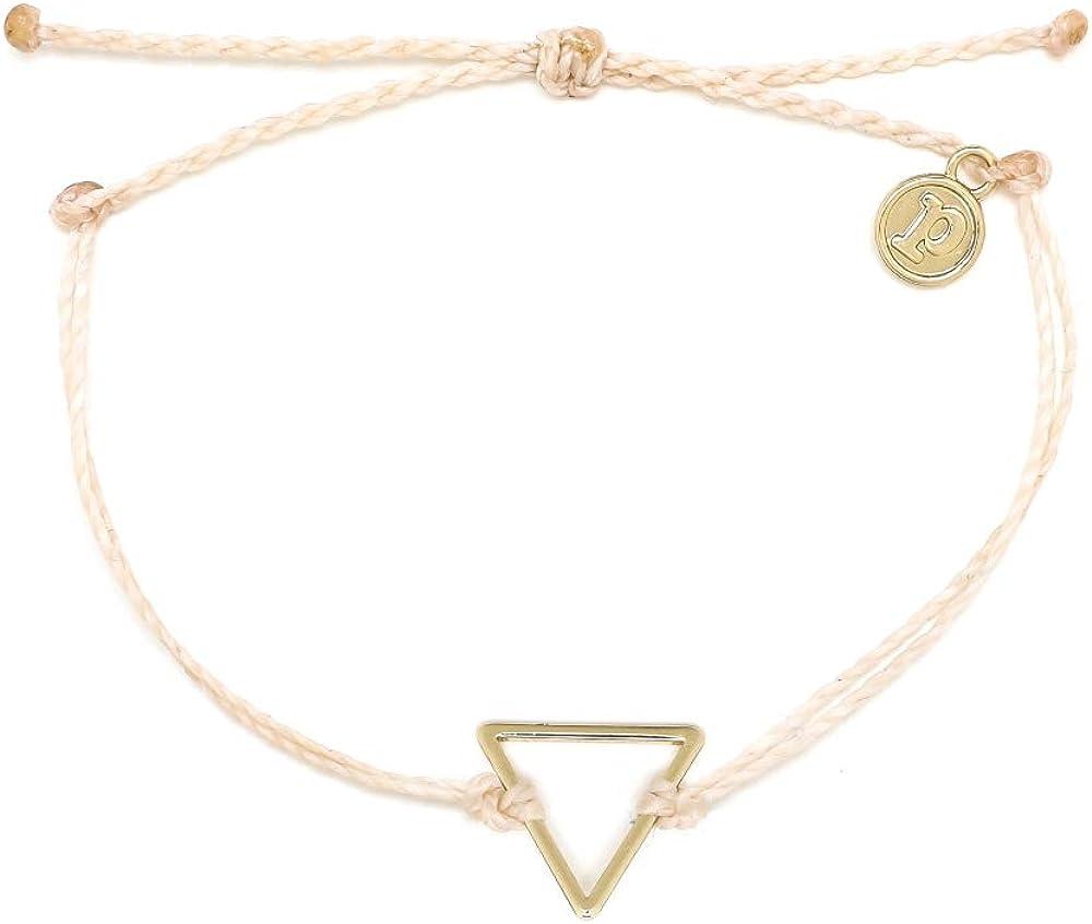 Pura Vida Silver or Gold Triangle Bracelet - Waterproof, Artisan Handmade, Adjustable, Threaded, Fashion Jewelry for Girls/Women