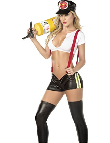 Sexy Firefighter With Suspenders 3PC Costume in Black/White, Extra Large (Slutty Firefighter Costume)