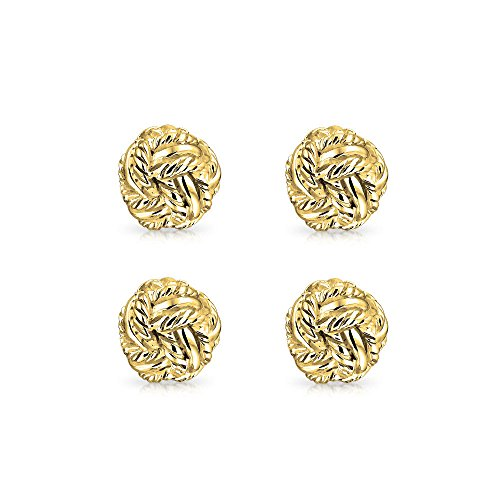 Bling Gold Plated 925 Sterling Silver Classic Double Woven Love Shirt Studs Set by Bling Jewelry (Image #2)