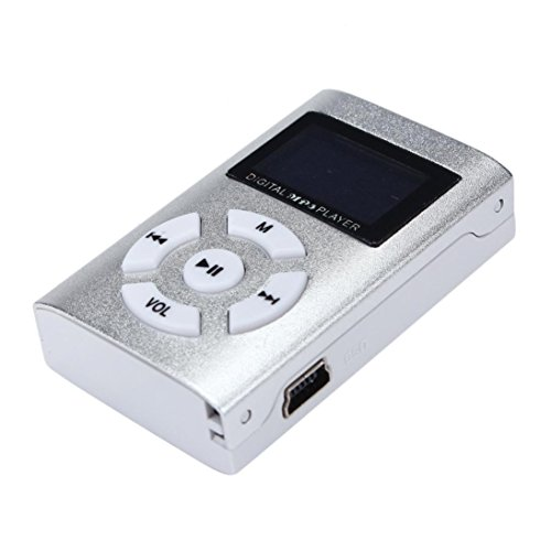 MP3 Player,Tuscom USB Mini MP3 Player LCD Screen Support 32GB Micro SD TF Card (Silver#)
