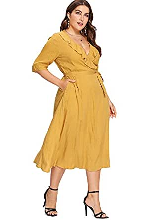 Milumia Plus Size Business Casual Dress Fit Flare Flowy Evening Party Dress Maxi Length Yellow 1X