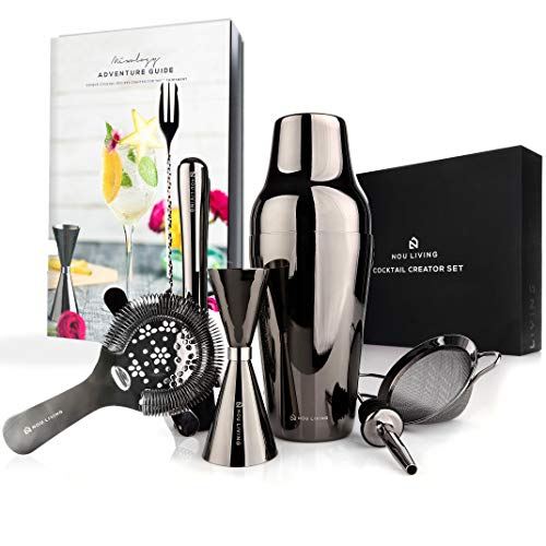 Parisian Cocktail Shaker Set and Mixology Bartender Kit - Luxury Bar Set & Bartending Tools: Premium Drink Shaker, Strainer, Muddler, Jigger, Mixer Spoon, Accessories & Recipe E-Book - Gun Metal - Shaker Dining Essentials