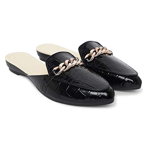 Alley Walk Women's Fashion Comfortable Slip-on chain Decorated Loafers bellies Low Heels Almond Toe Casual Daily Mule sandals