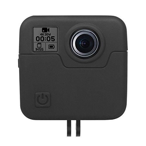 Kupton Silicone Case for GoPro Fusion 360, Silicone Housing Case Skins Cover, Rubber Cap Protector Accessories for Go Pro Fusion 360-Degree Camera - Black