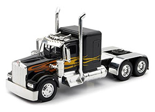 Peterbilt 389/Kenworth W900 Semi Truck Die Cast Toy - 1:32 Scale (Black with Yellow Flames)