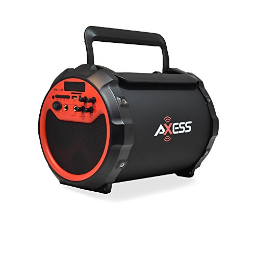 AXESS SPBT1034 Portable Bluetooth Indoor/Outdoor 2.1 Hi-Fi Loud Speaker/Sing Along with Built-In 6″ Sub and FM Radio, SD Card, USB, AUX, 6.5mm in Red (Wired Mic. Included)