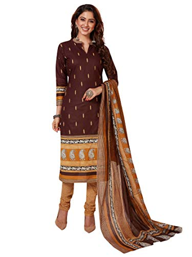 Miraan Women's Cotton Unstitched Dress Material (RV1109, Brown, Free Size)